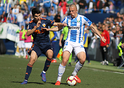 February 24, 2019 - Leganes, Madrid, Spain - Kravets of Leganes and Carlos Soler of Valencia in action during La Liga Spanish championship, football match between Leganes and Valencia, February 24th, Butarque stadium, in Leganes, Madrid, Spain. (Credit Image: © AFP7 via ZUMA Wire)