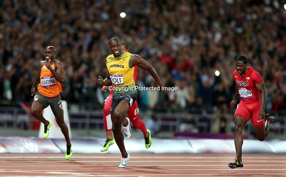 Athletics, London 2012 Olympic Games, Olympic Stadium, London, England 5/8/2012<br /> Men's 100m Final<br /> Jamaica's Usain Bolt wins the Men's 100m Final<br /> Mandatory Credit &copy;INPHO/PRESSEYE/William Cherry