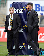 Highlanders coach Jamie Joseph and co-coach Simon Culhane..Investec Super Rugby - Highlanders v Chiefs, 25 February 2011, Carisbrook Stadium, Dunedin, New Zealand..Photo: Rob Jefferies / www.photosport.co.nz/SPORTZPICS
