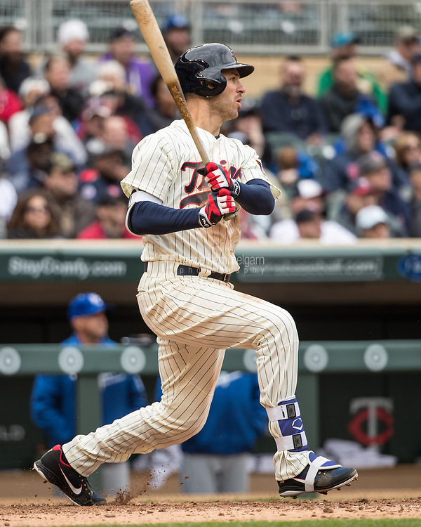 MINNEAPOLIS, MN- APRIL 5: Joe Mauer #7 of the Minnesota Twins bats against the Kansas City Royals on April 5, 2017 at Target Field in Minneapolis, Minnesota. The Twins defeated the Royals 9-1. (Photo by Brace Hemmelgarn) *** Local Caption *** Joe Mauer