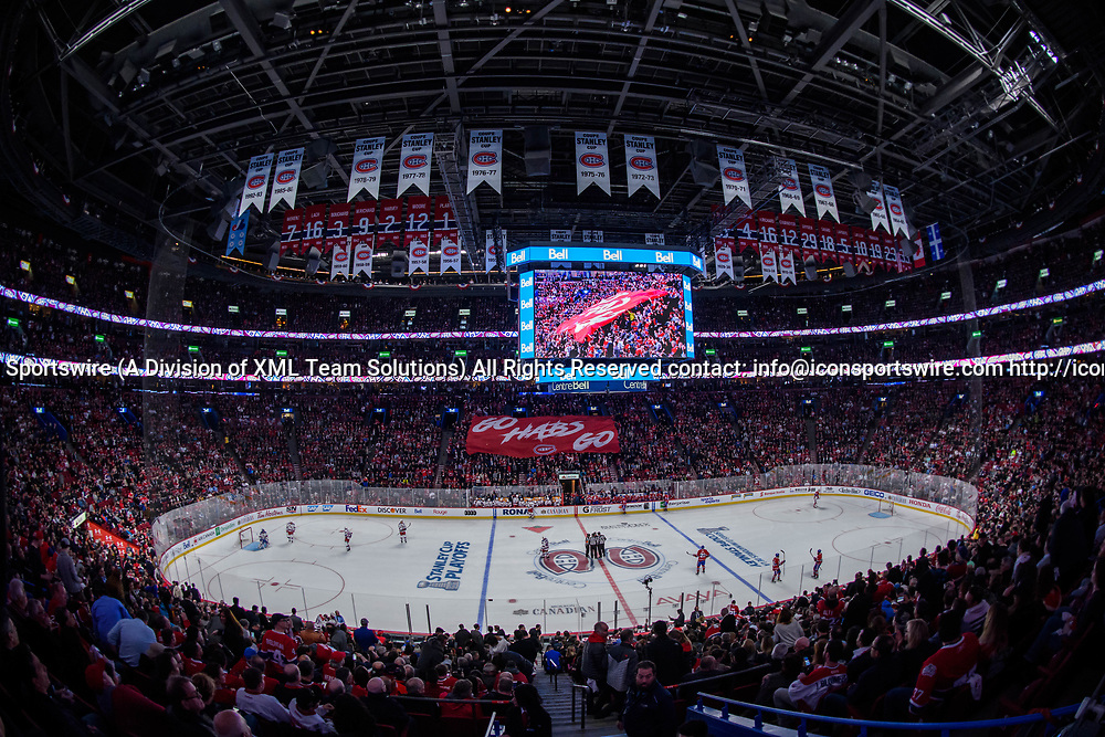 MONTREAL, QC - APRIL 12: General view of the arena during the first period of Game One of the Eastern Conference First Round series of the 2017 NHL Stanley Cup Playoffs between the New York Rangers and the Montreal Canadiens on April 12, 2017, at the Bell Centre in Montreal, QC (Photo by Vincent Ethier/Icon Sportswire)