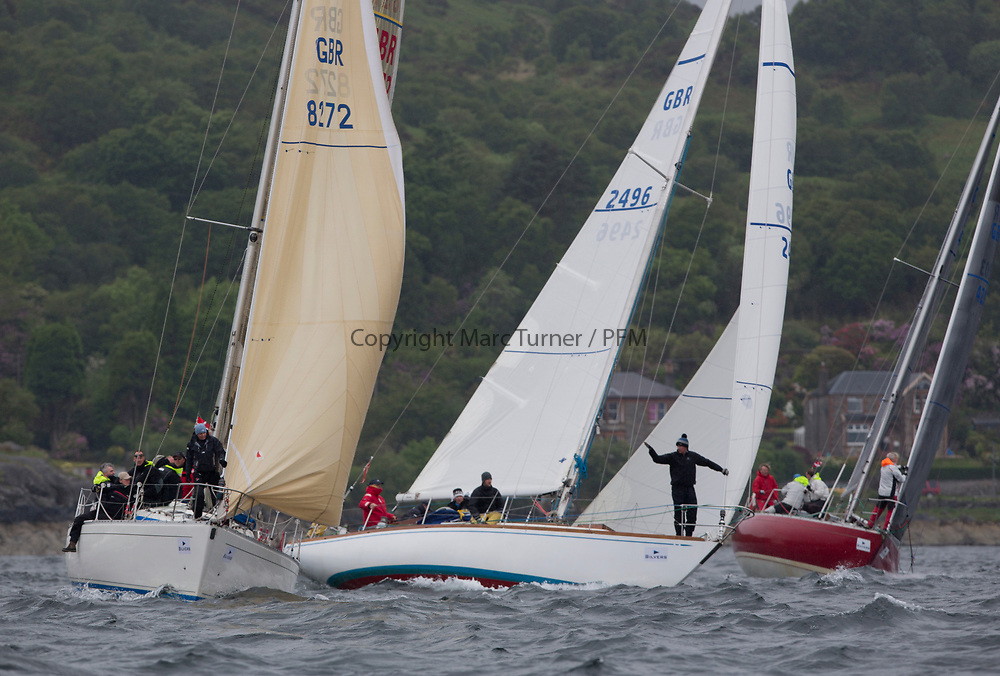 Silvers Marine Scottish Series 2017<br /> Tarbert Loch Fyne - Sailing<br /> <br /> Class 4 start with GBR8272, Enigma, Howard Morrison, CCC, Sigma 38, GBR2496, Valhalla of Ashton , Alan Dunnet , CCC , Swan 36 and GBR4203, Stargazer, A Bilsland /A Campbell, Arran Yacht Club, Grand Soleil 34<br /> <br /> Credit: Marc Turner / CCC