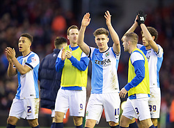 LIVERPOOL, ENGLAND - Sunday, March 8, 2015: Blackburn Rovers' Tom Cairney and his players applaud the travelling supporters after his side's goal-less draw with Liverpool during the FA Cup 6th Round Quarter-Final match at Anfield. (Pic by David Rawcliffe/Propaganda)