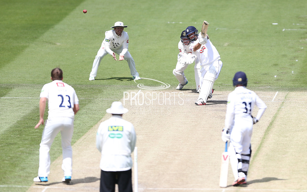 Gareth Berg hits a boundary during the LV County Championship Div 1 match between Sussex County Cricket Club and Hampshire County Cricket Club at the BrightonandHoveJobs.com County Ground, Hove, United Kingdom on 8 June 2015.