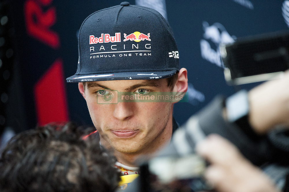 February 28, 2017 - Montmelo, Spain - Max Verstappen, driver of the Red Bull Racing Team, talk with the press during the 2nd day of the Formula 1 Test at the Circuit of Catalunya. (Credit Image: © Pablo Freuku/Pacific Press via ZUMA Wire)