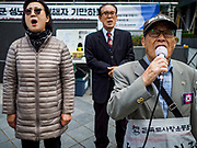 "10 OCTOBER 2018 - SEOUL, SOUTH KOREA: The Wednesday protests have been taking place since January 1992. Protesters want the Japanese government to apologize for the forced sexual enslavement of up to 400,000 Asian women during World War II. The women, euphemistically called ""Comfort Women"" were drawn from territories Japan conquered during the war and many came from Korea, which was a Japanese colony in the years before and during the war. The ""comfort women"" issue is still a source of anger of many people in northeast Asian areas like South Korea, Manchuria and some parts of China.         PHOTO BY JACK KURTZ   <br /> Wednesday Demonstration demanding Japan to redress the Comfort Women problems"