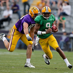 18 April 2009: LSU Tigers quarterback Jordan Jefferson (9) runs with the ball during the 2009 LSU spring football game at Tiger Stadium in Baton Rouge, LA.
