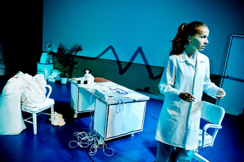 "Norwegian actress Anna Gutto in her own play ""In Security"""