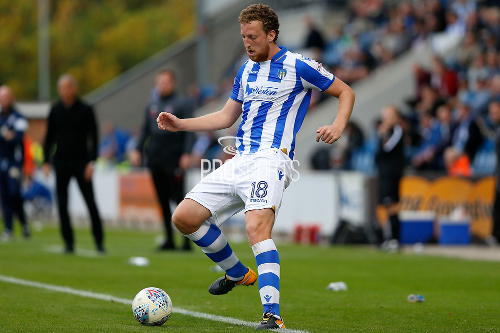 Colchester United's Tom Eastman(18) plays a pass during the EFL Sky Bet League 2 match between Colchester United and Carlisle United at the Weston Homes Community Stadium, Colchester, England on 14 October 2017. Photo by Phil Chaplin
