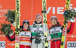 01.03.2020, Salpausselkae Hill, Lahti, FIN, FIS Weltcup Ski Sprung, Herren, Siegerehrung, im Bild 2. Platz Stefan Kraft (AUT), Sieger Karl Geiger (GER), 3. Platz Michael Hayboeck (AUT) // 2nd placed Stefan Kraft of Austria Winner Karl Geiger of Germany 3rd placed Michael Hayboeck of Austria during the winner ceremony for the men's ski jumping competition of FIS Ski Jumping World Cup at the Salpausselkae Hill in Lahti, Finland on 2020/03/01. EXPA Pictures © 2020, PhotoCredit: EXPA/ JFK