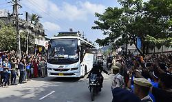 October 21, 2018 - Guwahati, Assam, India - Fan weaves hand during Indian cricket team bus entering to the Barsapara Cricket Stadium in the day of India vs West Indies one day international cricket match in Guwahati, Assam, India on Sunday, October 21, 2018. (Credit Image: © David Talukdar/NurPhoto via ZUMA Press)