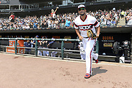 CHICAGO - AUGUST 12:  Jose Abreu #79 of the Chicago White Sox runs out onto the field prior to the game against the Cleveland Indians on August 12, 2018 at Guaranteed Rate Field in Chicago, Illinois.  (Photo by Ron Vesely)  Subject: Jose Abreu