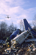 British Midland flight 092 Boeing 737-400 crash site on the M1 motorway at Kegworth as it came into land at East Midlands airport.