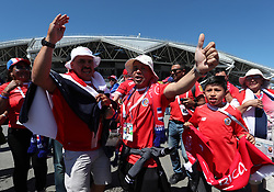 Samara, June 17, 2018  Fans of Costa Rica cheer prior to a group E match between Costa Rica and Serbia at the 2018 FIFA World Cup in Samara, Russia, June 17, 2018. (Credit Image: © Ye Pingfan/Xinhua via ZUMA Wire)