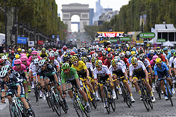 July 29, 2018 - Paris Champs-Elysees, France - PARIS CHAMPS-ELYSEES, FRANCE - JULY 29 : illustration picture of the peloton with THOMAS Geraint (GBR) of Team SKY, SAGAN Peter (SVK) of Bora - Hansgrohe  during stage 21 of the 105th edition of the 2018 Tour de France cycling race, a stage of 116 kms between Houilles and Paris Champs-Elysees on July 29, 2018 in Paris Champs-Elysees, France, 29/07/18  (Credit Image: © Panoramic via ZUMA Press)