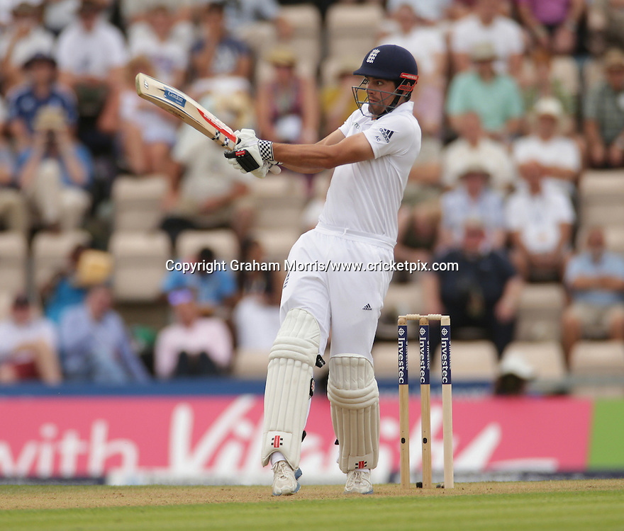 Alastair Cook, four off Mohammed Shami, during the third Investec Test Match between England and India at the Ageas Bowl, Southampton. Photo: Graham Morris/www.cricketpix.com (Tel: +44 (0)20 8969 4192; Email: graham@cricketpix.com) 27/07/14