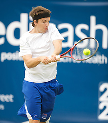 LIVERPOOL, ENGLAND - Wednesday, June 20, 2012: David O'Leary (GBR) during the final of the men's qualifying on kids' day at the Medicash Liverpool International Tennis Tournament at Calderstones Park. (Pic by David Rawcliffe/Propaganda)