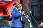 Apr 25, 2019; Nashville, TN, USA; Alabama running back Josh Jacobs poses with NFL commissioner Roger Goodell after being selected as the No. 24 pick of the first round by the Oakland Raiders during the 2019 NFL Draft. (Kim Hukari/Image of Sport)
