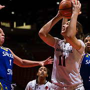 24 February 2018: The San Diego State women's basketball team closes out it's home schedule of the regular season Saturday afternoon against San Jose State. San Diego State Aztecs forward Arantxa Gomez Ferrer (11) attempts a shot under the basket while being defended by San Jose State Spartans guard Myzhanique Ladd (1) in the first half.  At halftime the Aztecs lead the Spartans 36-33 at Viejas Arena.<br /> More game action at sdsuaztecphotos.com
