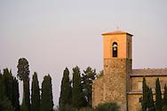 A church surrounded by cyprss trees near Montalcino, tuscany, Italy