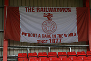 West Stand banner during the EFL Sky Bet League 2 match between Crewe Alexandra and Lincoln City at Alexandra Stadium, Crewe, England on 26 December 2018.
