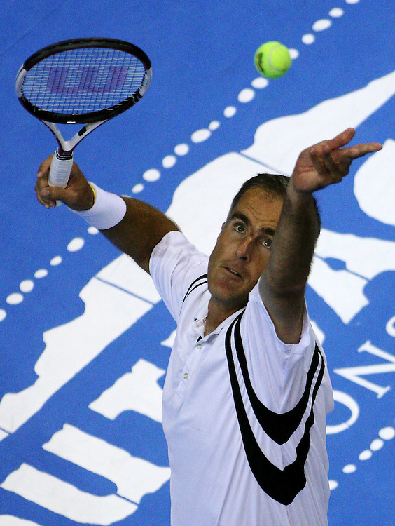 (Boston, MA - May 2, 2007) - Todd Martin serves in the opening match against Wayne Ferreira in the first round of the Champions Cup Boston tennis tournament at Agganis Arena. Martin won the match and eventually advanced to the final against Pete Sampras where he lost...Staff Photo Will Nunnally/The Daily Free Press