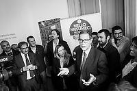 CATANIA, ITALY - 28 OCTOBER 2017: Center-right candidate Nello Musumeci, running for governor of Sicily in the upcoming Sicilan regional election, gives a speech during the inauguration of the provincial headquarters of the Brothers of Italy – National Alliance political party (Italian: Fratelli d'Italia - Alleanza Nazionale) during his campaign tour here in Catania, Italy, on October 28th 2017.<br /> <br /> The Sicilian regional election for the renewal of the Sicilian Regional Assembly and the election of the President of Sicily will be held on 5th November 2017.