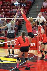 12 October 2013:  Emily Schneider and Carly Thomas at the net during an NCAA womens volleyball match between the Missouri State Bears and the Illinois State Redbirds at Redbird Arena in Normal IL