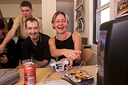 Special Report Creative Labs, Cambridge. (Developers of computer games.) Story about mavericks/inventors and how to handle them in the office. To created greater creativity in the office they have computer games in the kitchen for when staff are on their breaks.Front Left to Right: Ian Saunter(development director) Mark Ashton and Gill Collins, October 13, 2000..Photo by Andrew Parsons/i-Images..