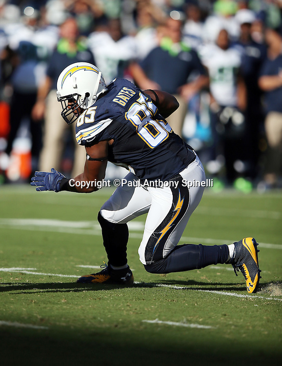 San Diego Chargers tight end Antonio Gates (85) runs with the ball as he catches a first quarter pass for a gain of 6 yards and a first down during the 2015 NFL preseason football game against the Seattle Seahawks on Saturday, Aug. 29, 2015 in San Diego. The Seahawks won the game 16-15. (©Paul Anthony Spinelli)