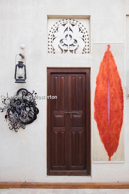 Art works on display at XVA gallery in Bastakiya old district of Dubai United Arab Emirates