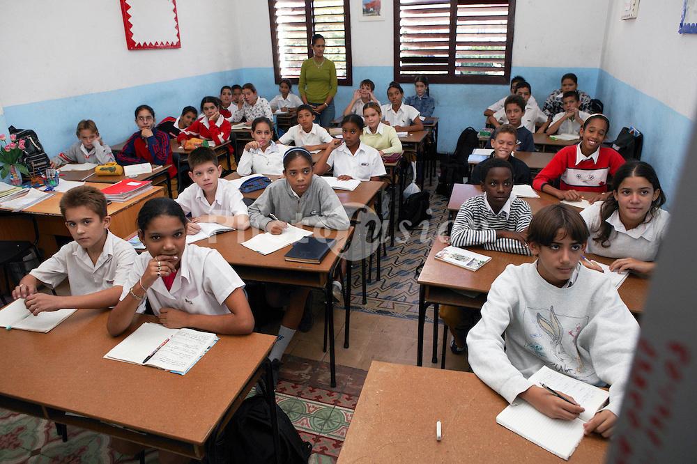 Classroom scene at Carlos J Finlay secondary school; Havana; Cuba,