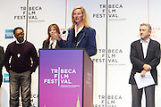 l to r: Spike Lee, Jane Rosenthal, Urma Thurman and Robert De Niro at The 2009 Tribeca Film Festival Opening Press Conference Kick-Off held at The Borough of Manhattan Community College in New york City on April 21, 2009