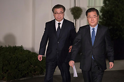 South Korea's national security director Chung Eui-yong makes a statement at The White House in Washington, DC, March 8, 2018. Credit: Chris Kleponis / CNP. 08 Mar 2018 Pictured: South Korea's national security director Chung Eui-yong(right) walks with the head of Korea's head of the presidential National Security Office, Suh Hoon(left) to make a statement at The White House in Washington, DC, March 8, 2018. Credit: Chris Kleponis / CNP. Photo credit: Chris Kleponis - CNP / MEGA TheMegaAgency.com +1 888 505 6342