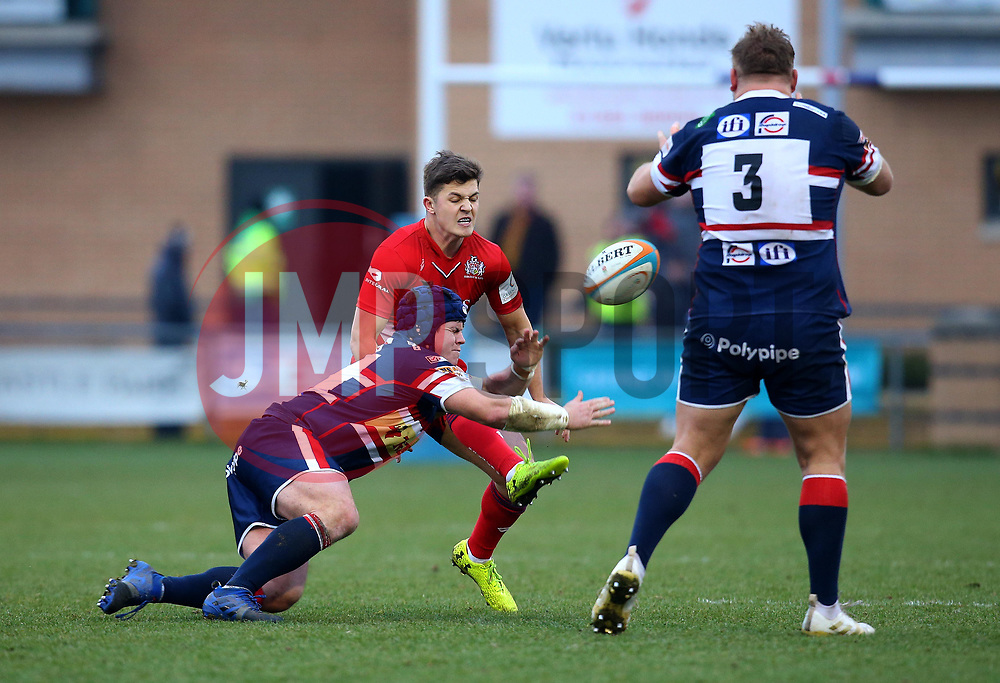 Callum Sheedy of Bristol Rugby has a kick charged down by Ben Hunter of Doncaster Knights - Mandatory by-line: Robbie Stephenson/JMP - 13/01/2018 - RUGBY - Castle Park - Doncaster, England - Doncaster Knights v Bristol Rugby - B&I Cup