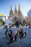 Luke Bell (AUS) and Luke McKenzie (AUS), March 19, 2014 - Ironman Triathlon : Compete in the instant triathlon. Tougher Than An IRONMAN, Federation Square, Melbourne, Victoria, Australia. Credit: Lucas Wroe
