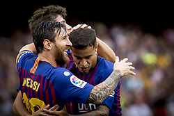 September 2, 2018 - Barcelona, Catalonia, Spain - Leo Messi cellebrating his first score during the spanish league La Liga match between FC Barcelona and SD Huesca at Camp Nou Stadium in Barcelona, Catalonia, Spain on September 02, 2018  (Credit Image: © Miquel Llop/NurPhoto/ZUMA Press)