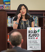Juliet Stipeche comments during a news conference at Walnut Bend Elementary School launching Read Aloud Month, March 1, 2016.