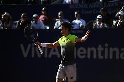 February 16, 2018 - Buenos Aires, Argentina - Aljaz Bedene during a tennis match against Diego Schwartzman at the Argentina Open Tennis Tournament in Buenos Aires on February 16, 2018  (Credit Image: © Gabriel Sotelo/NurPhoto via ZUMA Press)