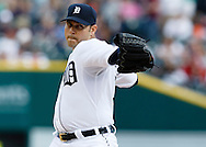 May 23, 2014; Detroit, MI, USA; Detroit Tigers starting pitcher Anibal Sanchez (19) pitches in the first inning against the Texas Rangers at Comerica Park. Mandatory Credit: Rick Osentoski-USA TODAY Sports