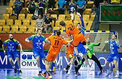 Jasper Adams of Netherlands vs Borut Mackovsek of Slovenia during handball match between National teams of Slovenia and Netherlands in Qualifications of 2020 Men's EHF EURO, on April 14, 2019, in Arena Zlatorog, Celje, Slovenia. Photo by Vid Ponikvar / Sportida