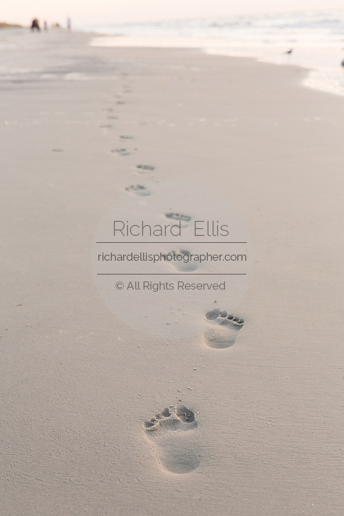 Footprints in the sand at the beach on Hilton Head Island, SC