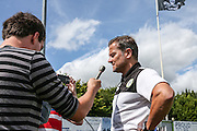 Forest Green Rovers manager, Mark Cooper speaks to the media ahead of the game during the Vanarama National League match between Forest Green Rovers and Gateshead at the New Lawn, Forest Green, United Kingdom on 13 August 2016. Photo by Shane Healey.