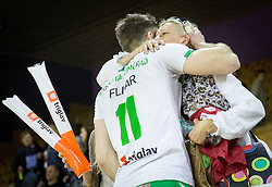 Gorazd Flisar of Panvita Pomgrad celebrates after winning during volleyball game between OK ACH Volley and OK Panvita Pomgrad in 1st final match of Slovenian National Championship 2013/14, on April 6, 2014 in Arena Tivoli, Ljubljana, Slovenia. Photo by Vid Ponikvar / Sportida
