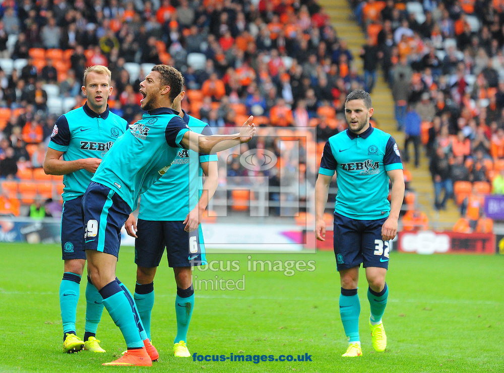 Rudy Gestede of Blackburn of Rovers celebrates scoring the opening goal of the match during the Sky Bet Championship match at Bloomfield Road, Blackpool<br /> Picture by Greg Kwasnik/Focus Images Ltd +44 7902 021456<br /> 16/08/2014