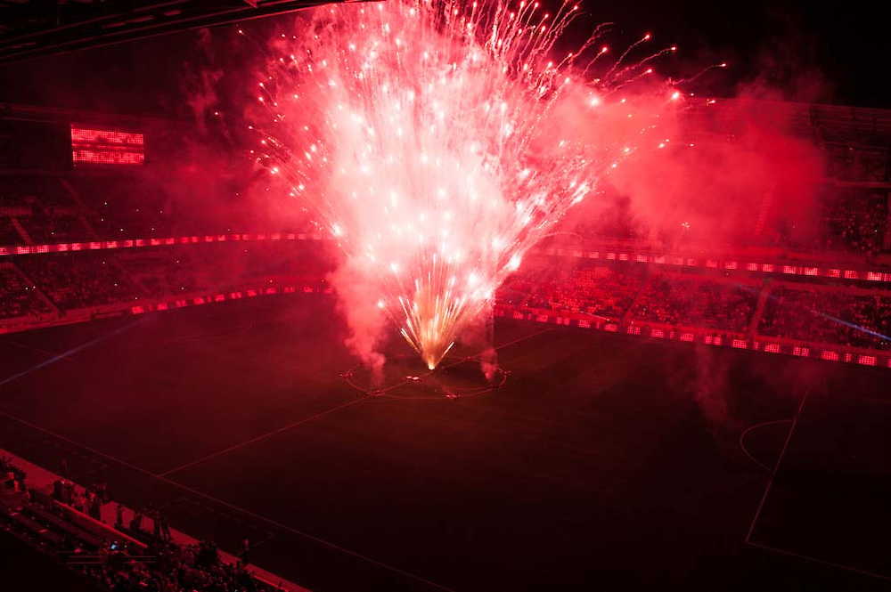 HARRISON, NJ - AUGUST 17:  A general view of the firework show after the game between the  New York Red Bulls and the Philadelphia Union at Red Bulls Arena on August 17, 2013. (Photo By: Rob Tringali)