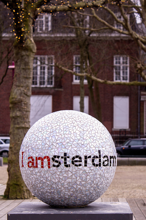 AMSTERDAM, NETHERLANDS - FEBRUARY 07: I Amsterdam city urban furniture welcome sign in museum square, on February 07, 2015 in Amsterdam.