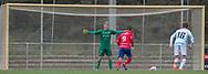 Christoffer Petersen (FC Helsingør) står overfor straffesparkskytten Christoffer Thrane (Slagelse) under kampen i 2. Division mellem Slagelse B&I og FC Helsingør den 6. oktober 2019 på Slagelse Stadion (Foto: Claus Birch).
