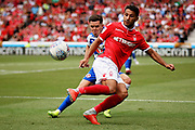 Nottingham Forest midfielder Joao Carvalho (10) showing some skill during the EFL Sky Bet Championship match between Nottingham Forest and Reading at the City Ground, Nottingham, England on 11 August 2018.