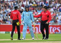 Cricket - 2019 ICC Cricket World Cup - Semi-Final: England vs. Australia<br /> <br /> Umpire Marais Erasmus (right) asks England's Jason Roy to leave the pitch as Umpire Dharmasena (left) gives him out for 85, caught by Australia's Alex Carey off the bowling of Pat Cummins, at Edgbaston, Birmingham.<br /> <br /> COLORSPORT/ASHLEY WESTERN